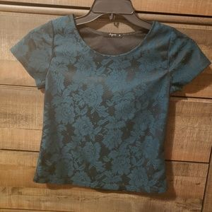 Tops - Green Lace Imitation Crop Top